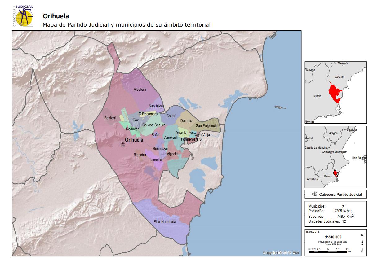 Orihuela Mapa del Partido Judicial y municipios de su ámbito territorial