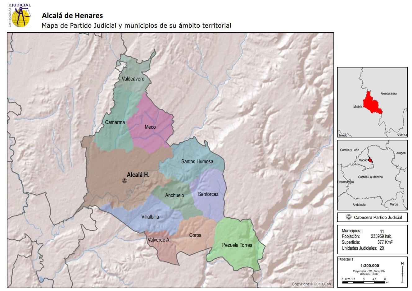 Alcalá de Henares Mapa de Partido Judicial y municipios de su ámbito territorial