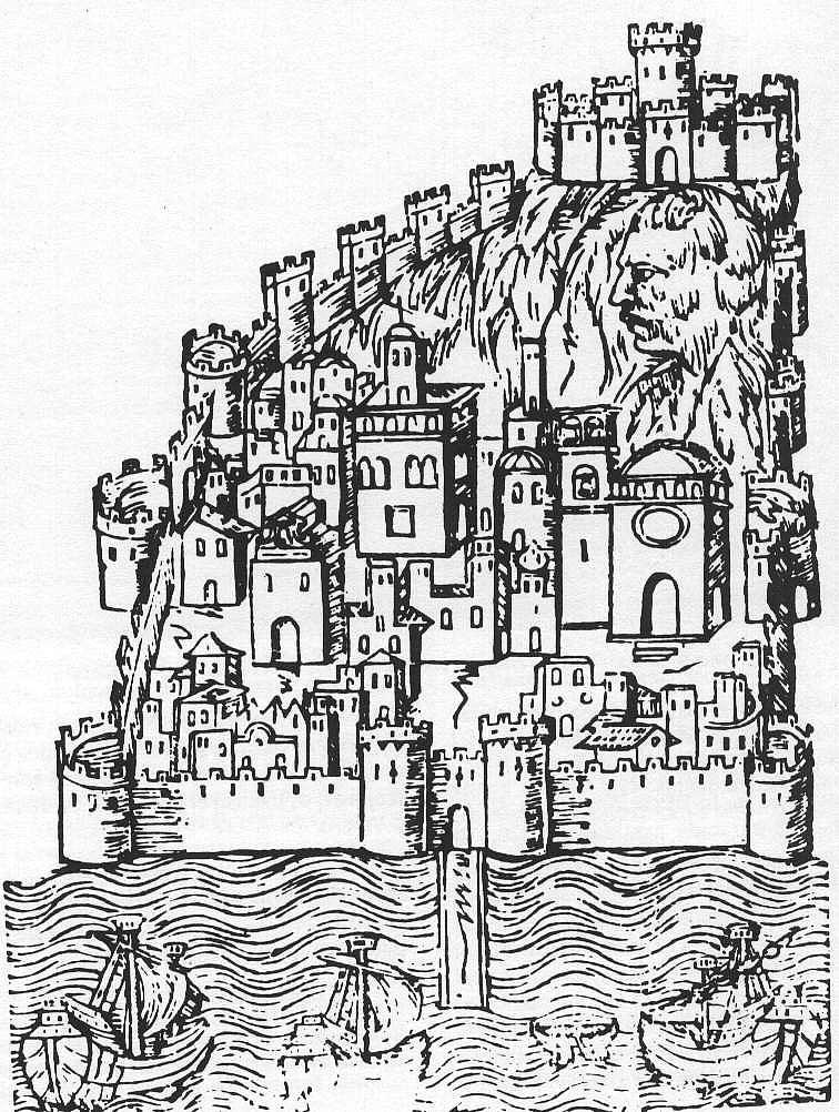 Grabado Alicante amurallado S. XVI Crónica de Martín de Viciana