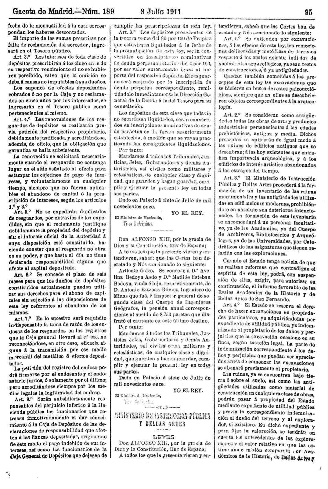 ley excavaciones arqueológicas de 1911 1