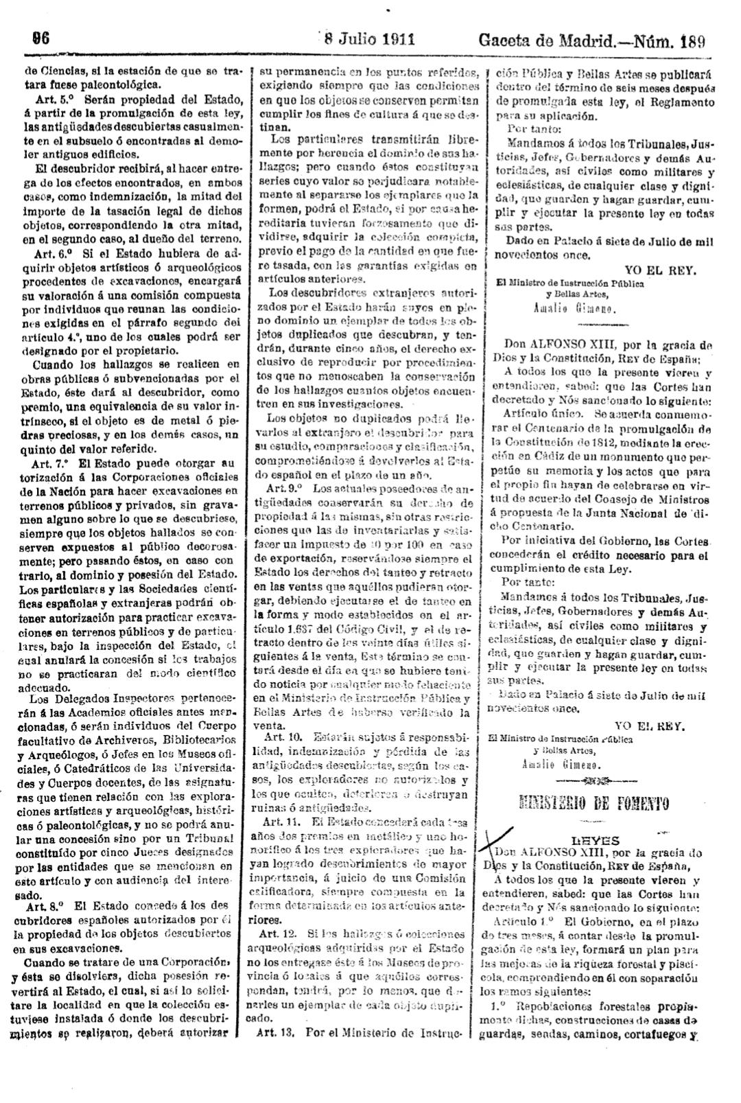 Ley excavaciones arqueológicas de 1911