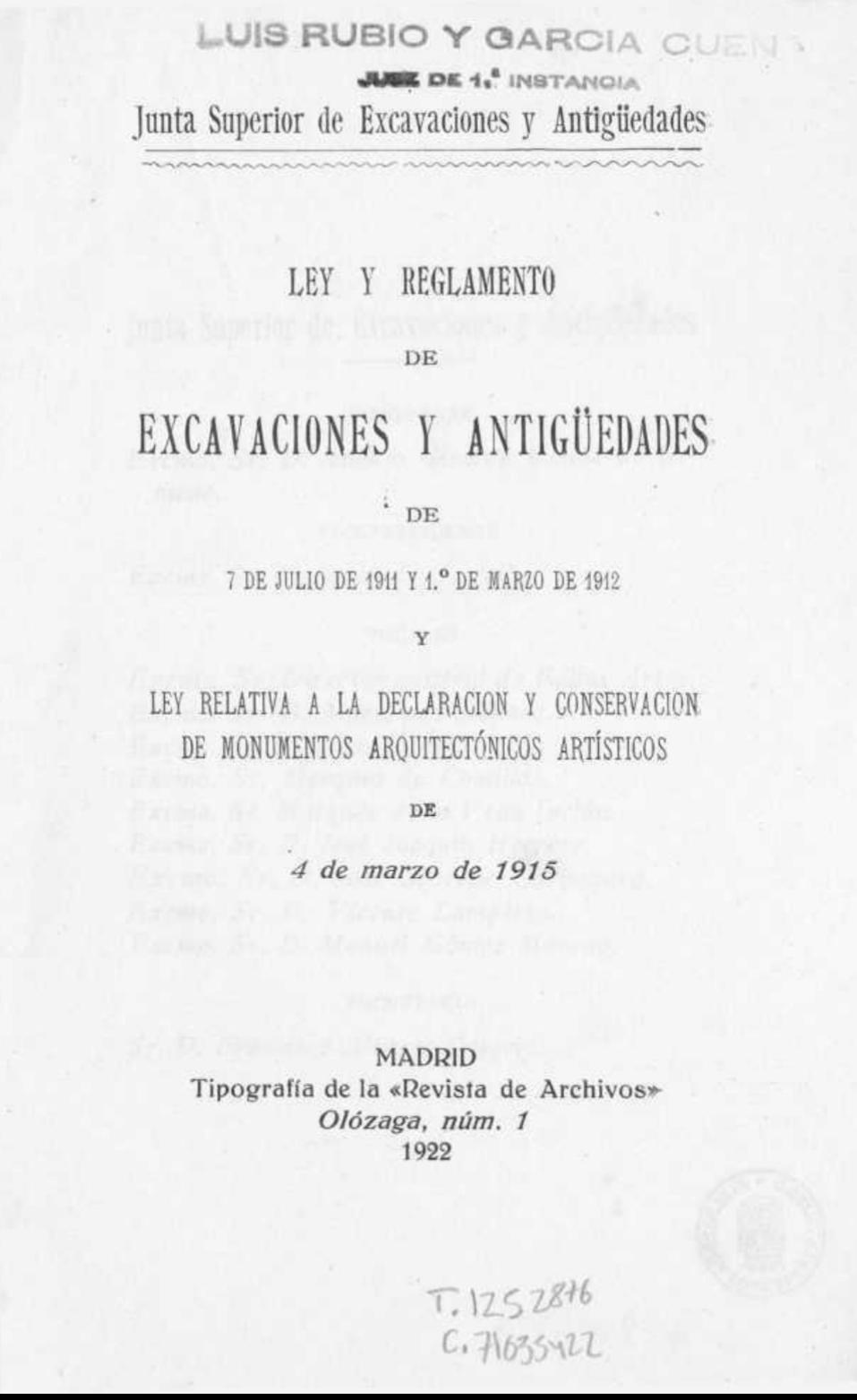ley y reglamento de excavaciones y antigüedades de 1911