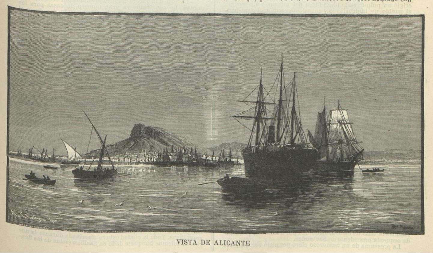 vista de Alicante Diario la Hormiga de Oro 1886