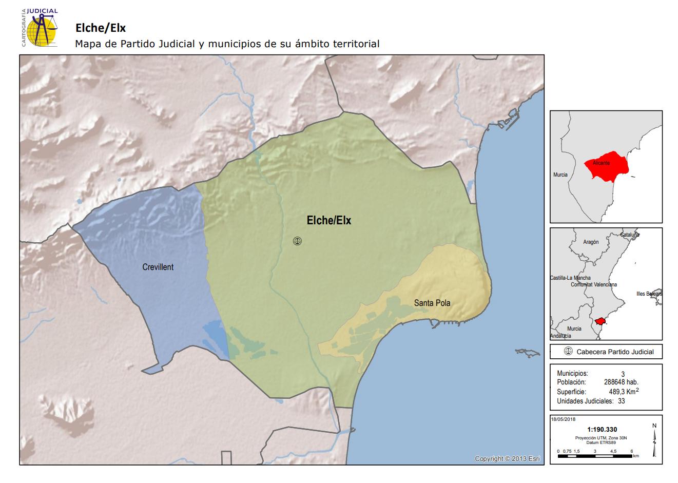 Elche/Elx Mapa de Partido Judicial y municipios de su ámbito territorial