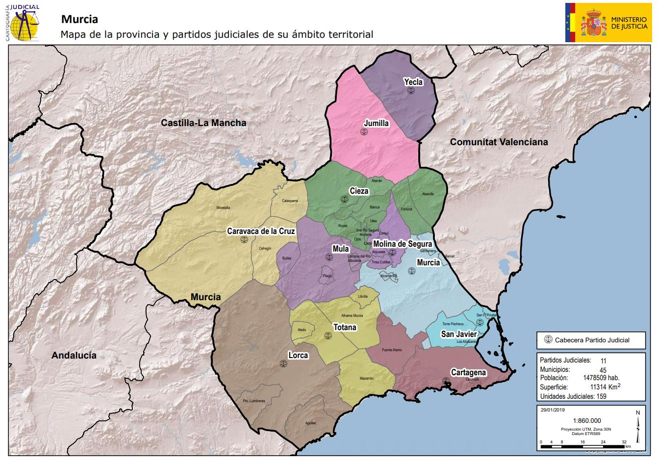 Mapa de la provincia y partidos judiciales de su ámbito territorial Murcia