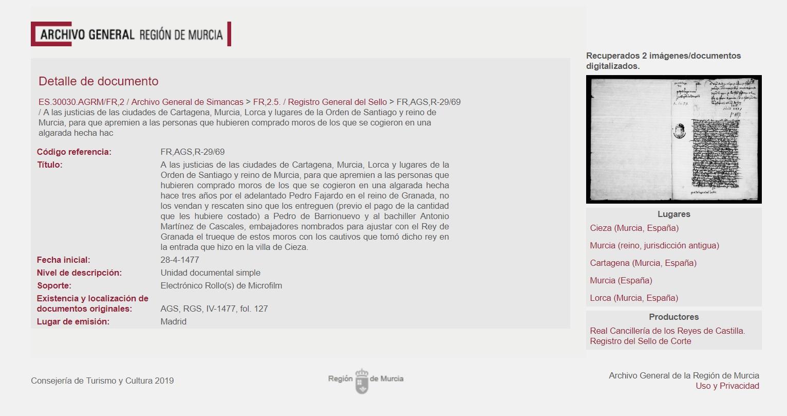 rescate cautivos archivo Simancas Lorca murcia