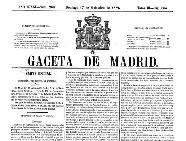 ley crim 1882 gaceta