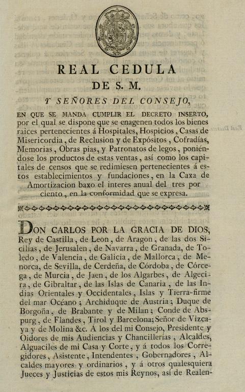 real cedula 1798