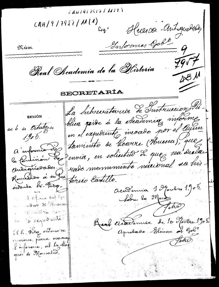 Expediente relativo a la declaración de Monumento Nacional al Castillo de Loarre 1905