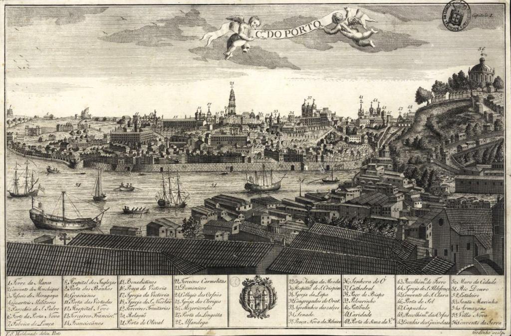 Grabado de la ciudad de Oporto en el Siglo XVIII 1789